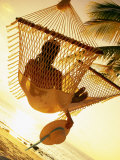 Woman on Hammock, Ari Atoll, White Sand Island Photographic Print by Angelo Cavalli