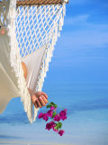 Woman on Hammock, Ari Atoll, White Sands Island Photographic Print by Angelo Cavalli