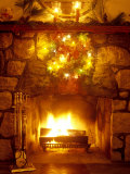 Christmas Wreath Over Fireplace Photographic Print by Lauree Feldman