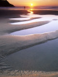Sunset at Porth Joke with Strange Sand Pools, Cornwall, UK Photographic Print by David Clapp
