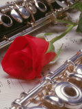 Clarinet and Flute on Sheet Music with Rose Photographic Print by Tomas del Amo