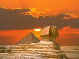 Sphinx and Pyramid at Sunset Photographic Print