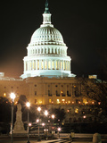 Night Shot of the United States Capitol Building and Capital Hill, USA Photographic Print by David Clapp