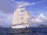 Star Clipper, 4-Masted Sailing Ship Fotografiskt tryck av Barry Winiker