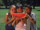 Children in Park Eating Watermelon Fotografisk tryk af Mark Gibson