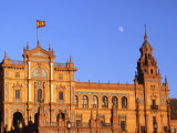 Moon Over Decorative Building, Seville, Spain Photographic Print by David Marshall