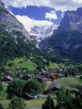 Lodges in Valley, Grindewald Alps, Switzerland Photographic Print by Tomas del Amo