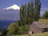 Farm House with Mountain in Background, Chile Photographic Print by Walter Bibikow