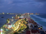 Aerial of Cancun at Night, Mexico Photographic Print by Peter Adams