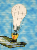 Hand with Light Bulb Hot Air Balloon and Binary Code Photographic Print by Carol & Mike Werner