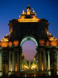 Statue at Night, Portugal Photographic Print by Peter Adams