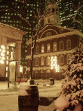 Faneuil Hall at Christmas with Snow, Boston, MA Photographie par James Lemass