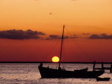Sunset and Fishing Boats, Isla Mujeres, Mexico Fotografie-Druck von Chris Rogers