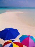 Umbrellas on Beach, Maldives Photographic Print by Stuart Westmorland