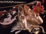 Chaussons de danse classique, violon, flûte et fleur Photographie