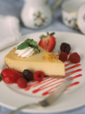 Cheesecake with Fruits Photographic Print by John T. Wong