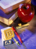 Crayons, Letter Blocks, Apple and Books Photographic Print by Ellen Kamp