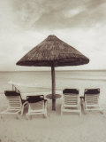 Palapa Umbrella on the Beach, Cancun, Mexico Photographic Print by Mark Gibson