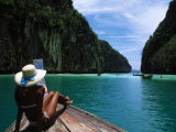 Woman on Boat, Phi Phi Island, Phuket Photographic Print by Angelo Cavalli