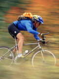 Mountain Biker in Motion, Vail, CO Photographic Print by Jack Affleck