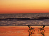 Silhouette of Two Chairs on the Beach Photographic Print by Mitch Diamond