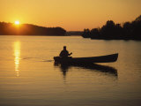 Georgia, Canoe on a Lake at Sunrise Photographic Print by Jennifer Broadus