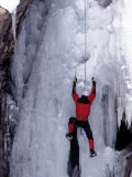Ice Climber Ascending Wall Photographic Print by Don Grall