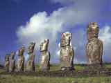 Ahu Akivi, Seven Moais, Easter Island, Chile Fotodruck von Horst Von Irmer