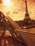 France, Paris, Eiffel and Passerelle Photographic Print by Silvestre Machado