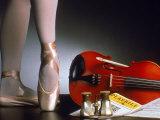 Playbill, Ballerina Legs and Violin Fotografie-Druck