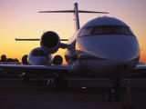 Business Jet Aircraft Parked at Airport Fotografie-Druck von Gary Conner