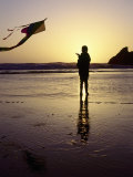 Girl Flying Kite on Beach, Cape Sebastian, OR Photographic Print by Jim Corwin
