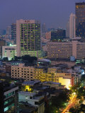 Central Bangkok, Dusk, Thailand Photographic Print by Walter Bibikow