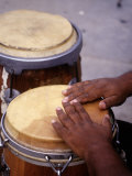 Man Playing Bongos Photographic Print by B &amp; C Gillingham