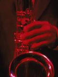 Close-up of Man Playing Saxophone in Jazz Club Fotoprint van Gary Conner