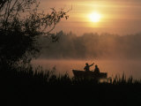 Fishermen in Small Boat, Lake Cassidy, WA Photographic Print by Jim Corwin