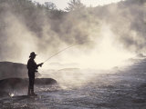 Man Fly-Fishing in Contoocook River, Henniker, NH Photographic Print by David White