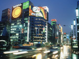 Ginza District at Night, Tokyo, Japan Photographic Print by Jeff Greenberg