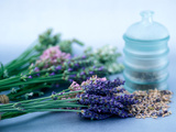 Cut Lavender, Dried Lavender &amp; Glass Pot Photographic Print by Lynn Keddie
