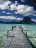 Scenic Dock off Motu Tapu, Bora Bora Photographic Print by Barry Winiker