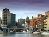 Downtown Milwaukee and Milwaukee River, Wisconsin Photographic Print by Walter Bibikow