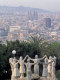 Sculpture with Barcelona in Background, Spain Photographic Print by David Marshall