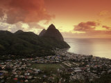 Sunset View of the Pitons and Soufriere, St. Lucia Photographic Print by Walter Bibikow