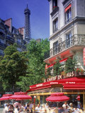 Cafe and Eiffel Tower, Paris, France Photographic Print by Peter Adams