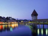 Kapellbrucke, Chapel Bridge, Canton Luzern Fotografiskt tryck av Angelo Cavalli