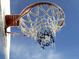 Ice Formed on a Basketball Net Photographic Print by Dennis Macdonald