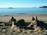 Sand Castle on Beach, Maine Coast, ME Photographic Print by Dennis Lane