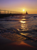 Sunset at Lighthouse, Lake MIchigan, MI Photographic Print by Mark Gibson
