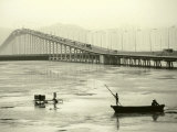 Fishing Near Bridge, Macau, China Photographic Print by Kindra Clineff