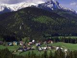 Ski Chalets & Tatra Mts, Zakopane, Carpathian Mts Photographic Print by Walter Bibikow